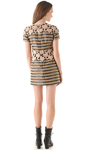 Charlotte Ronson A Line Dress with Lace Panels