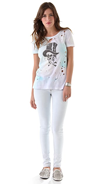 Chaser Top Hat Skull Destroyed Slouchy Tee