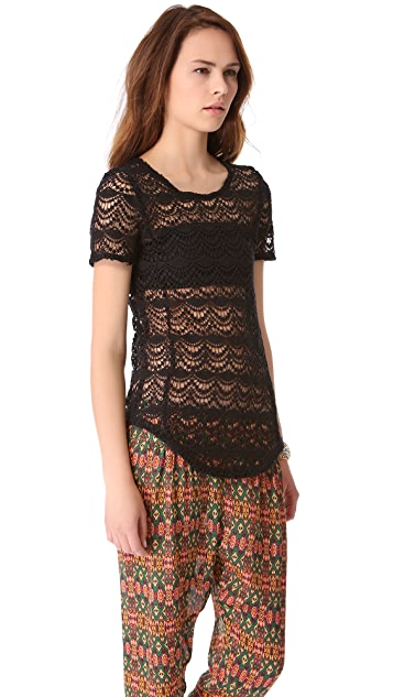 Chaser Spanish Lace Shirttail Tee