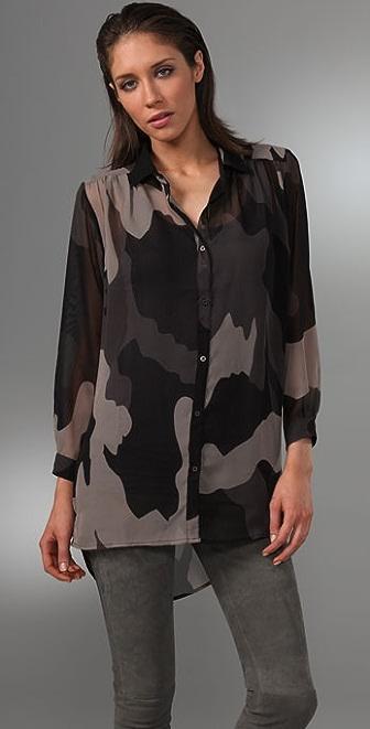 Cheap Monday Sheer Camo Shirt