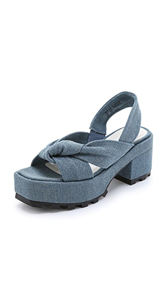 Shop Cheap Monday online and buy Cheap Monday Trapped Knot Platform Sandals Pale Denim shoes online