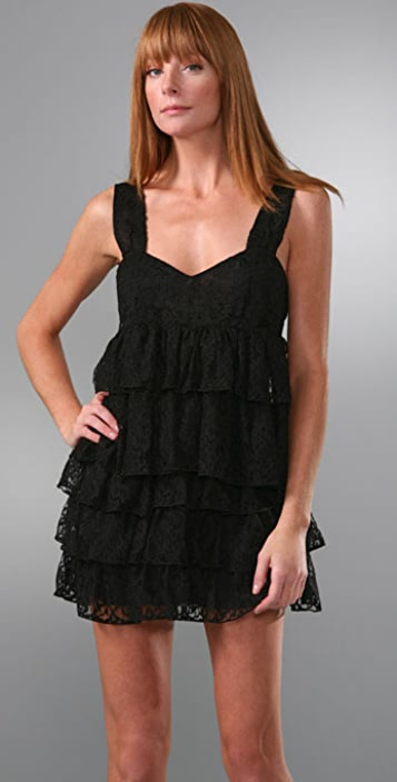 Caroline Hedaya Lace Tiered Tie Back Dress