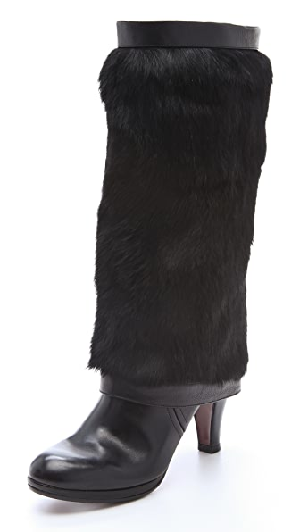 Chie Mihara Shoes Albeen Leather and Fur Boots