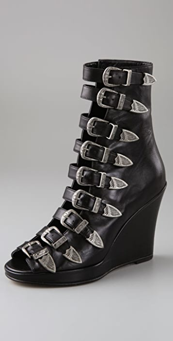 Chloe Sevigny for Opening Ceremony Multi Buckle Wedge Booties