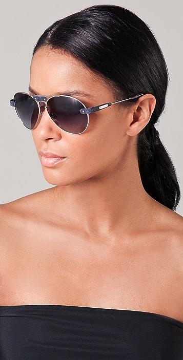 Chloe Oversized Tamaris Aviator Sunglasses with Leather Trim