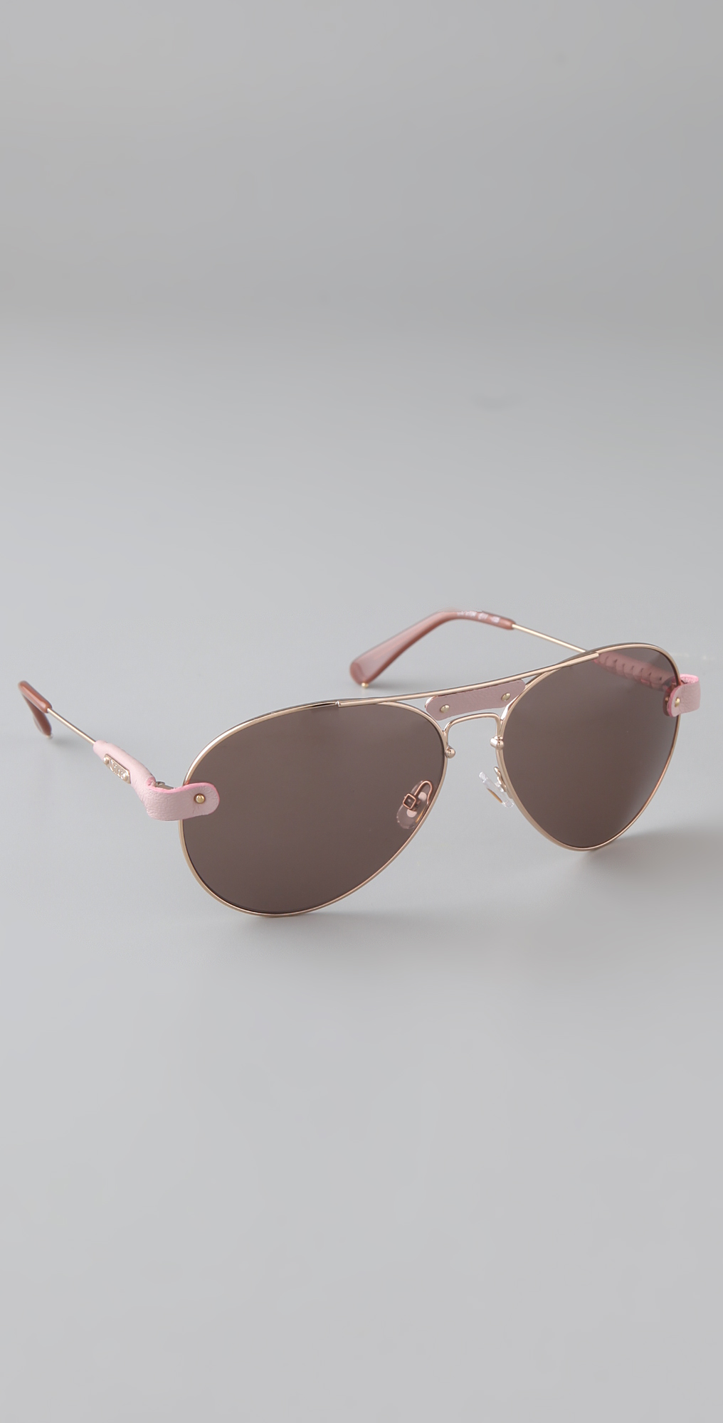 f3e4ee0e036b Chloe Oversized Tamaris Aviator Sunglasses with Leather Trim