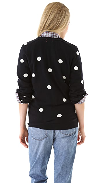 Chinti and Parker Cashmere Polka Dot Cardigan