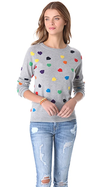 Chinti and Parker Rainbow Hearts Cashmere Sweater