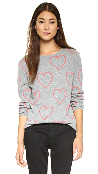 Chinti and Parker Allover Heart Sweater - Grey Marl/Pop Pink