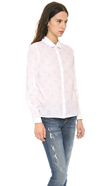 Chinti and Parker Heart Print Collar Shirt