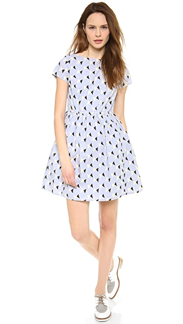 Chinti and Parker Bow Print Short Sleeve Dress
