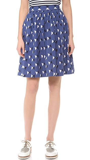 Chinti and Parker Bow Print Mid Skirt