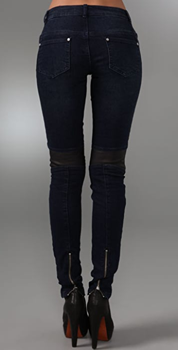 CHARLEY 5.0 Leather Panel Skinny Jeans
