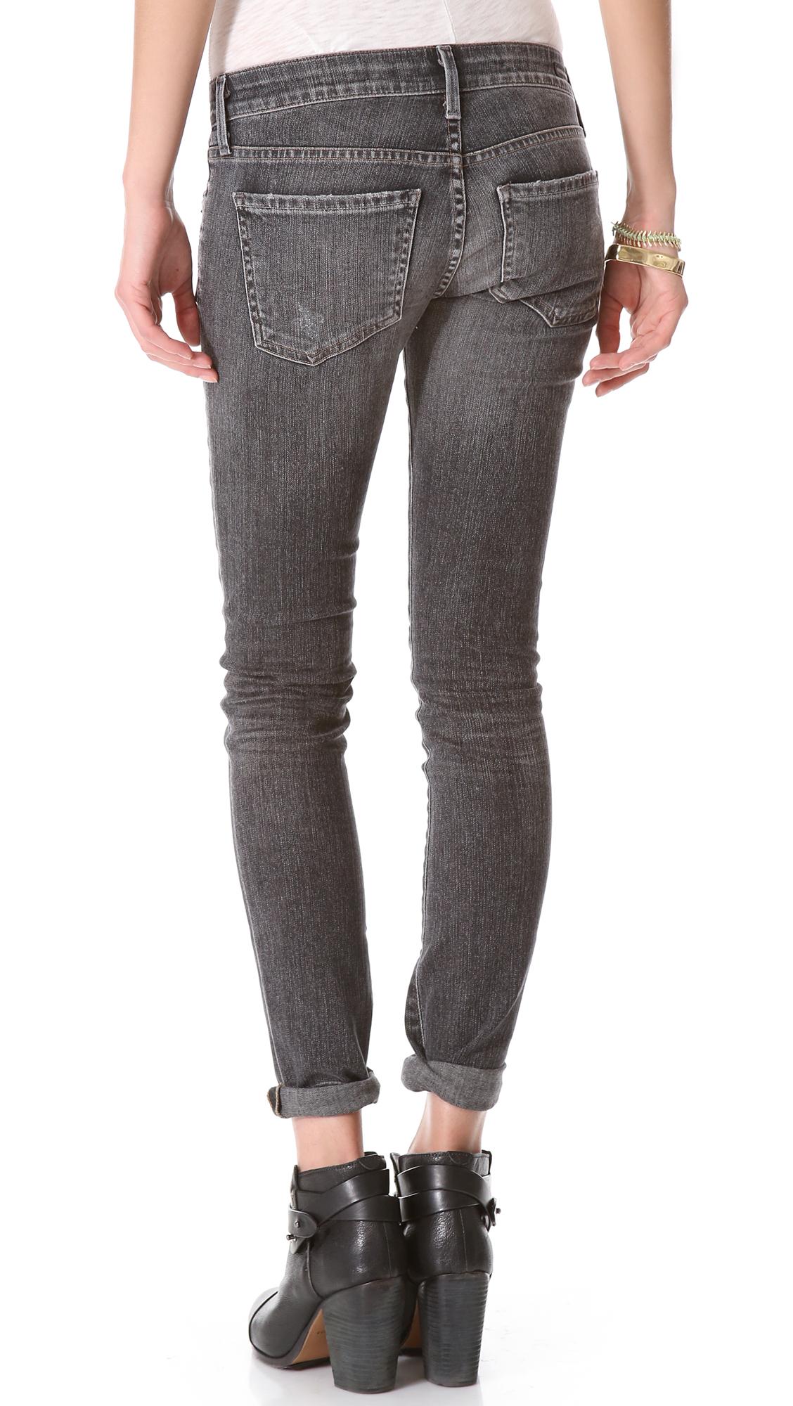 Racer' low rise skinny jeans (slash)