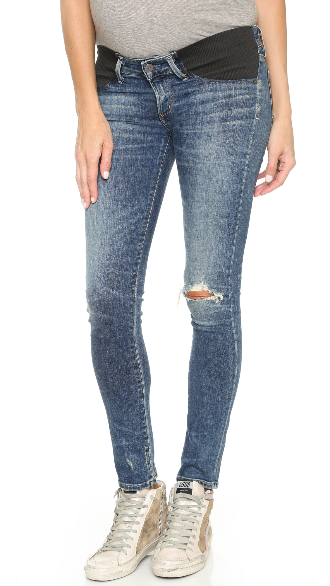 Citizens of Humanity Racer Ultra Maternity Skinny Jeans - Distressed Weekend