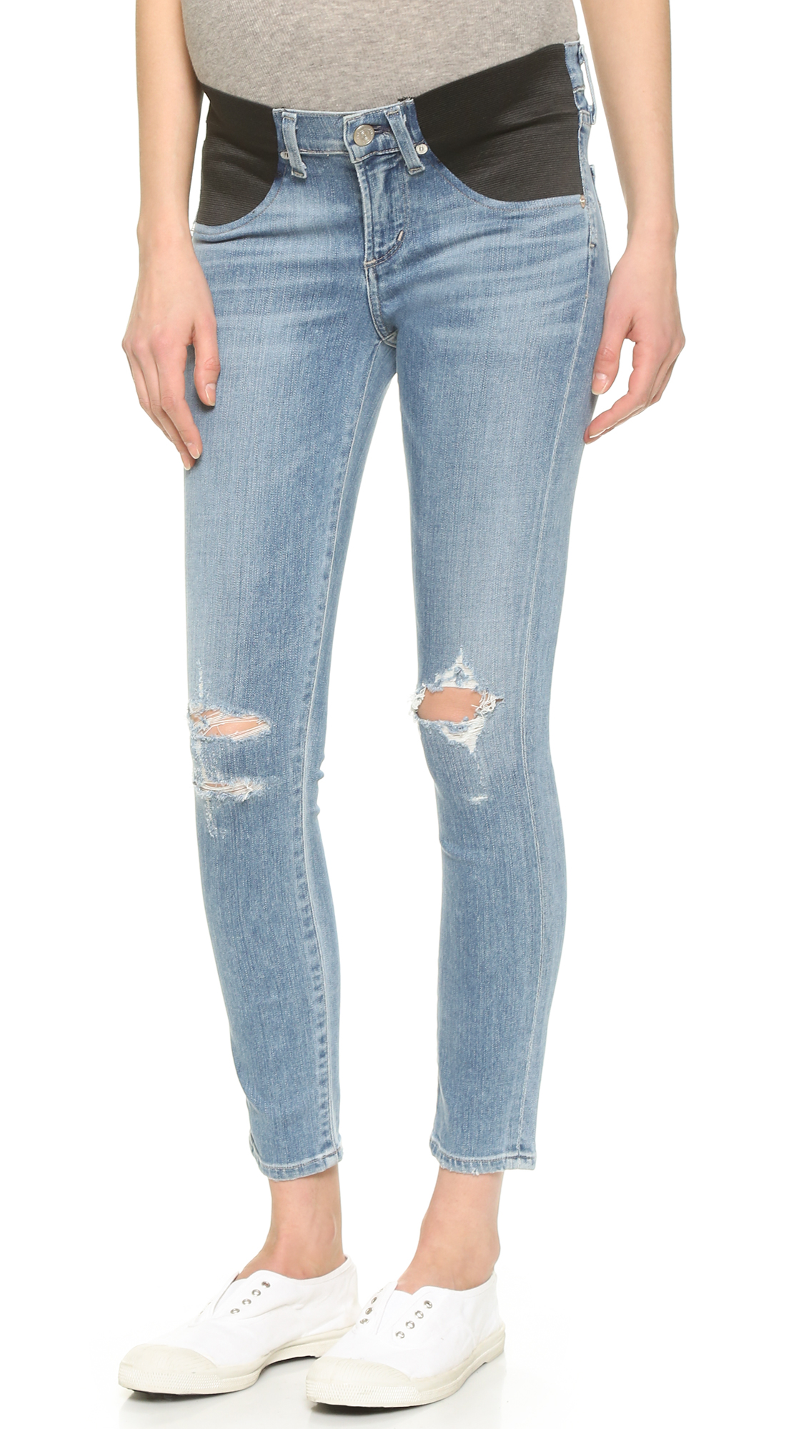 Citizens Of Humanity Avedon Skinny Maternity Ankle Jeans - Distressed Bombay
