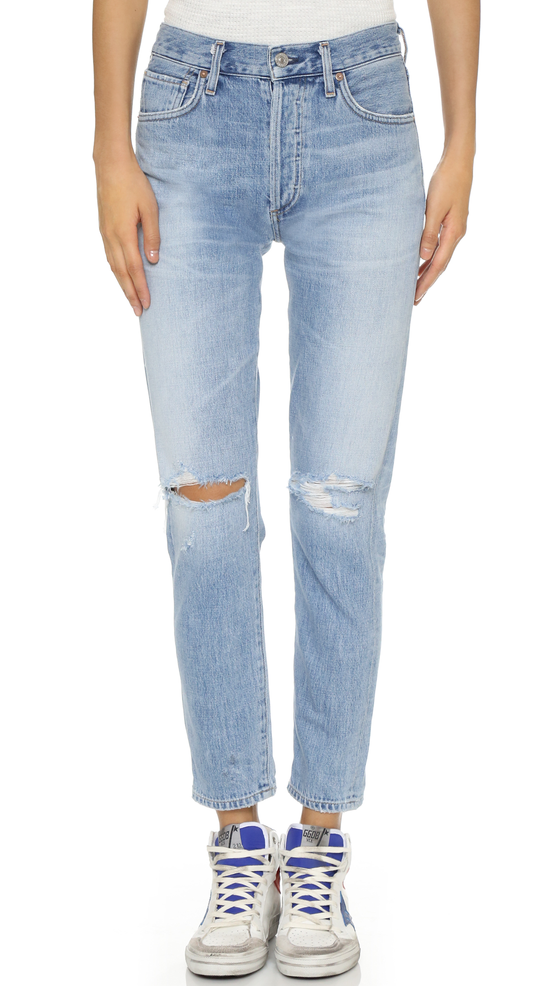 Citizens Of Humanity Liya High Rise Classic Fit Jeans - Torn at Shopbop