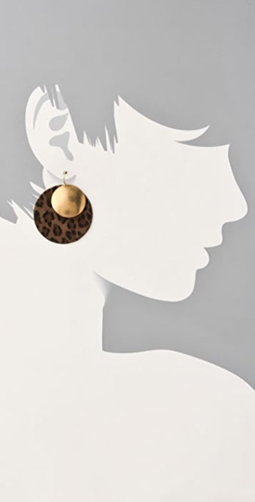 Citrine by the Stones Leopard and Gold Disc Earrings
