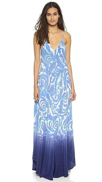 Charlie Jade Blue Waves Silk Maxi Dress