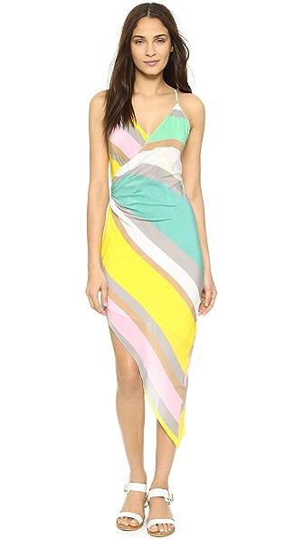 Charlie Jade Striped Wrap Dress - Green
