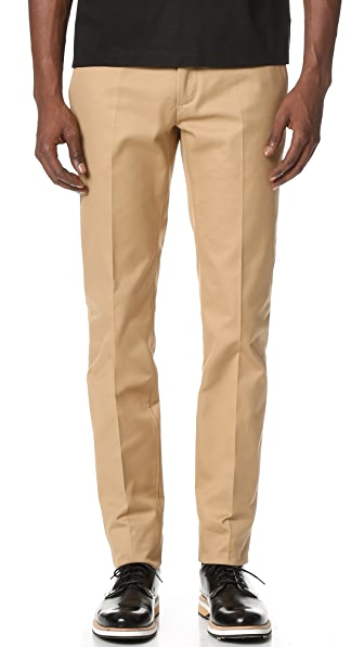 Calvin Klein Collection Exact Compact Cotton Twill Slim Fit Pants