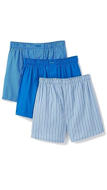 Calvin Klein Underwear 3 Pack Woven Boxers