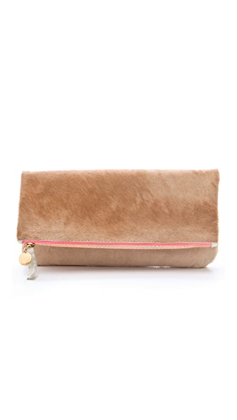 Clare V. Fold Over Haircalf Clutch
