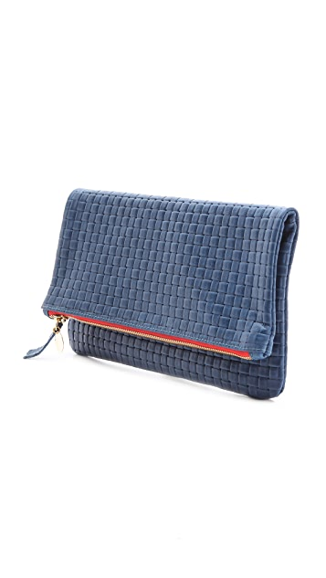 Clare V. Woven Fold Over Clutch