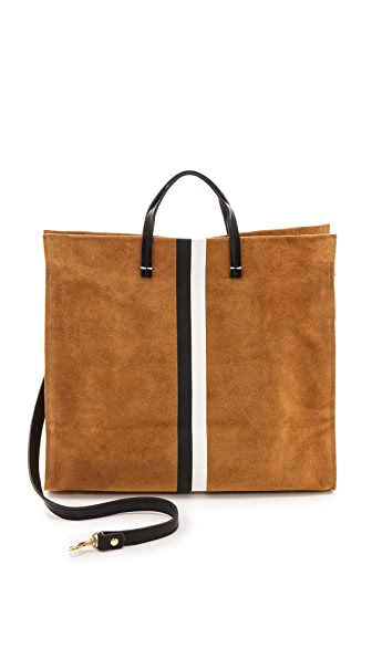 Clare V. Simple Tote - Camel Suede w/ Black and White