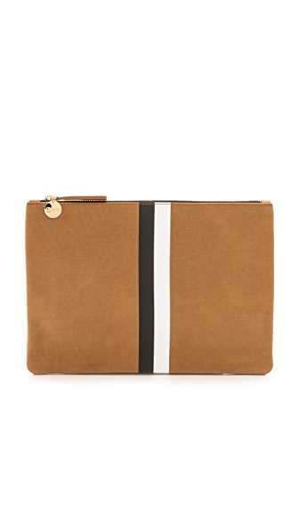 Clare V. Striped Flat Clutch