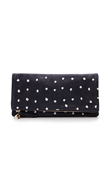 Clare V. Fold Over Clutch with Cream Dots
