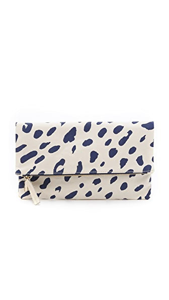 Clare V. Jaguar Print Fold Over Clutch