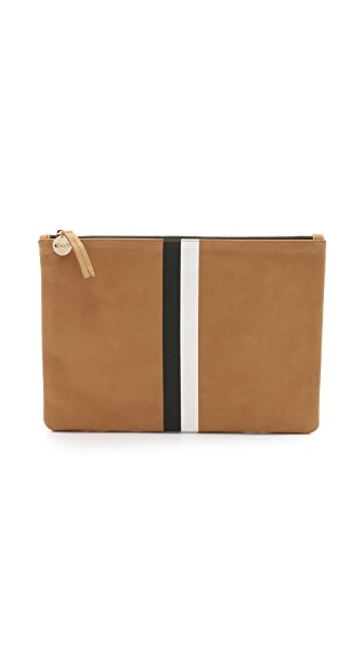 Clare V. Flat Clutch - Camel/Black/White