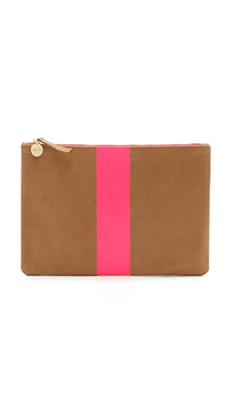 Clare V. Flat Clutch - Camel/Neon Pink