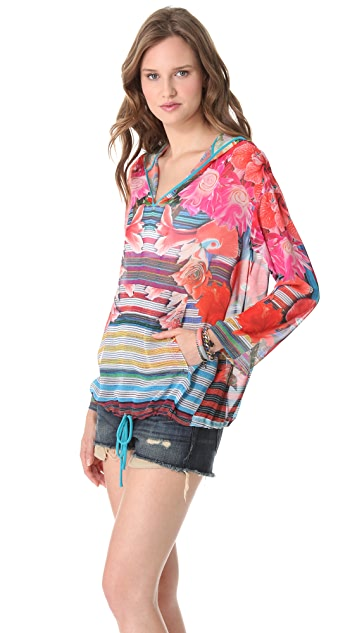 Clover Canyon Liquid Flower Hooded Top