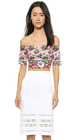 Clover Canyon Floral Collage Off the Shoulder Crop Top