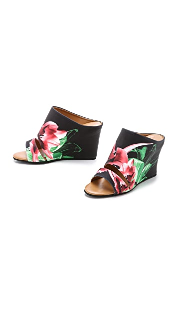 Clover Canyon Silent Flower Black Wedge Mules