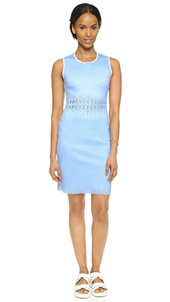 Shop Clover Canyon online and buy Clover Canyon Laser Cut Sleeveless Dress Blue dresses online