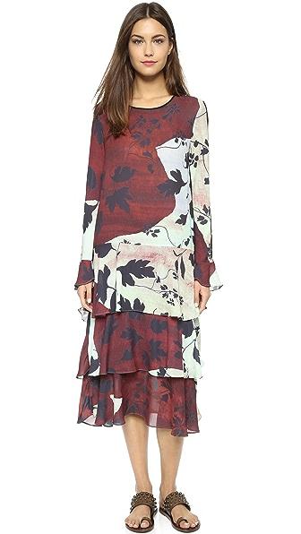 Kupi Clover Canyon online i prodaja Clover Canyon Rustic Vines Tiered Dress Burgundy haljinu online