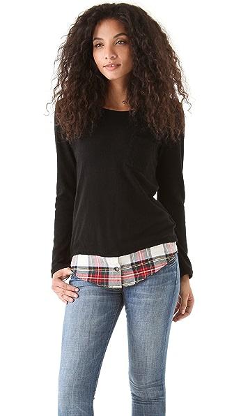 Clu Sweater with Plaid Shirttail