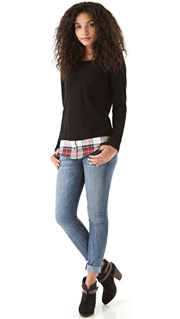 Clu Sweater with Plaid Shirttail