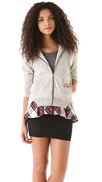 Clu Hoodie with Plaid Ruffles