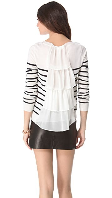 Clu Striped Pullover with Ruffle Back