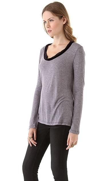 Clu Velvet Trimmed Long Sleeve Top