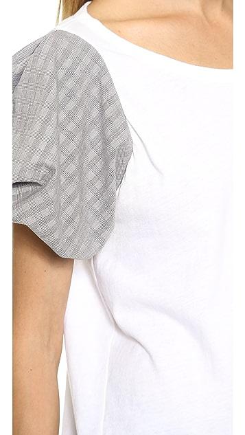 Clu Glencheck Puff Sleeve Top