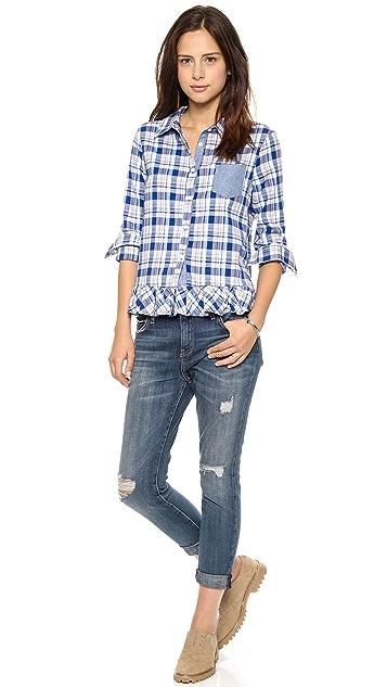 Clu Clu Too Ruffled Plaid Shirt