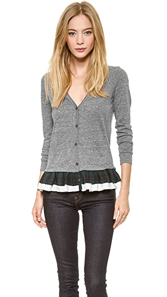 Clu Clu Too Plaid Ruffled Cardigan