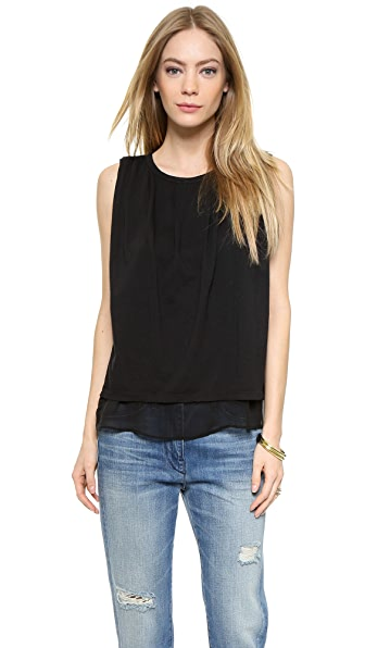 Clu Sleeveless Top With Tuck Detail - Black