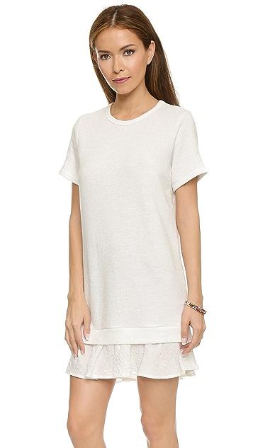 Clu Short Sleeve Sweatshirt Dress with Ruffle