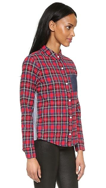 Clu Clu Too Striped Back Plaid Shirt